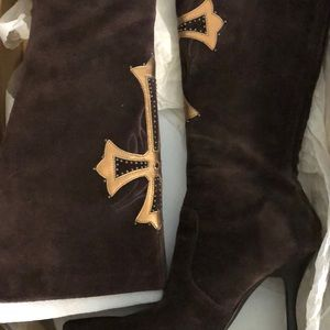Shoes - Suede CROSS Boots: Brown or Black